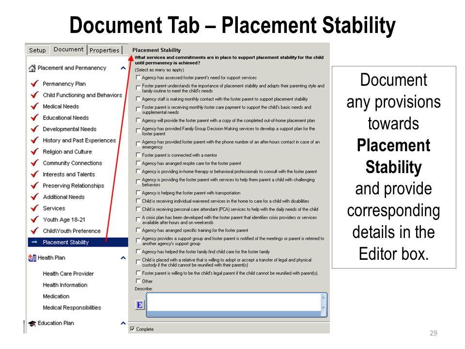 Document Tab – Placement Stability
