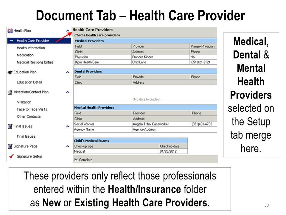 Document Tab – Health Care Provider
