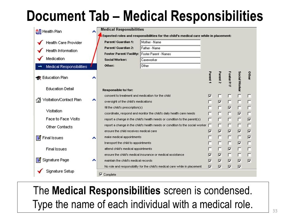 Document Tab – Medical Responsibilities