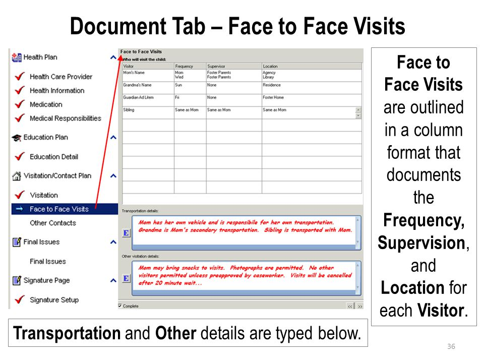 Document Tab – Face to Face Visits