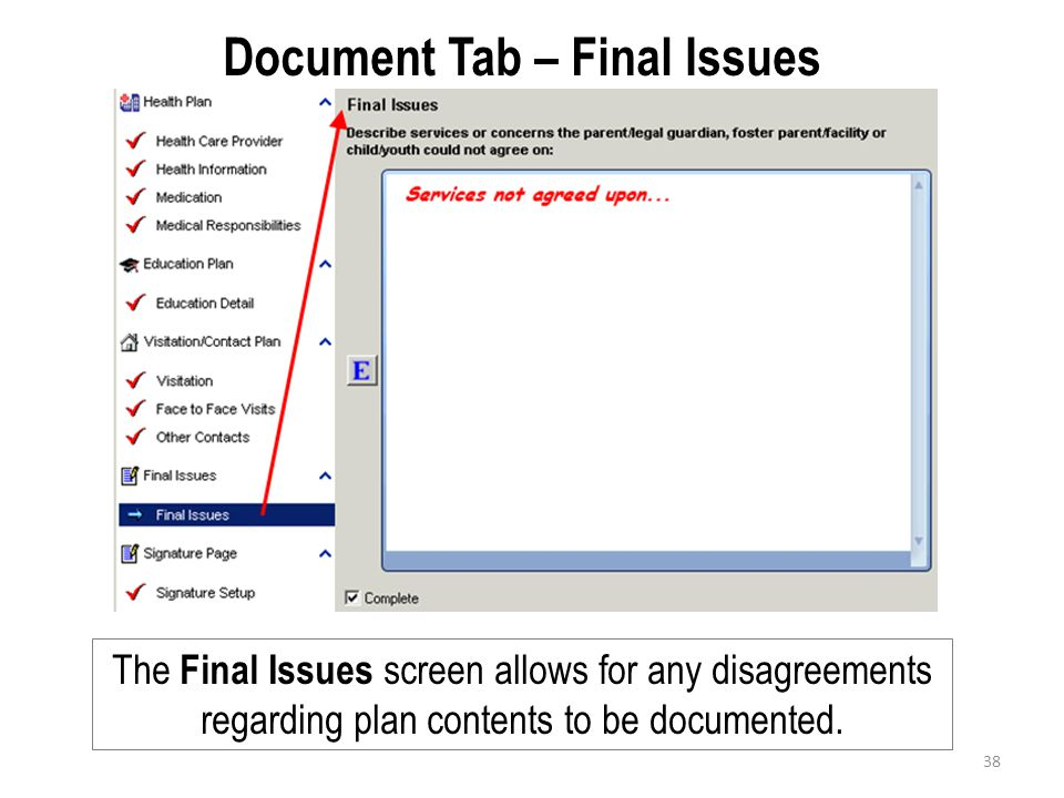 Document Tab – Final Issues