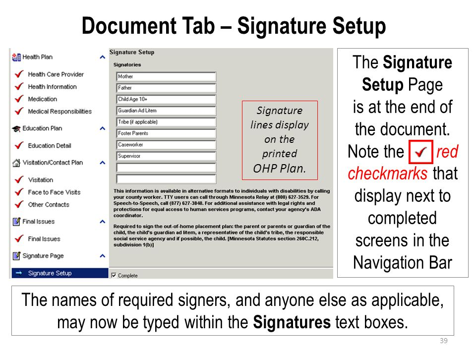 Document Tab – Signature Setup