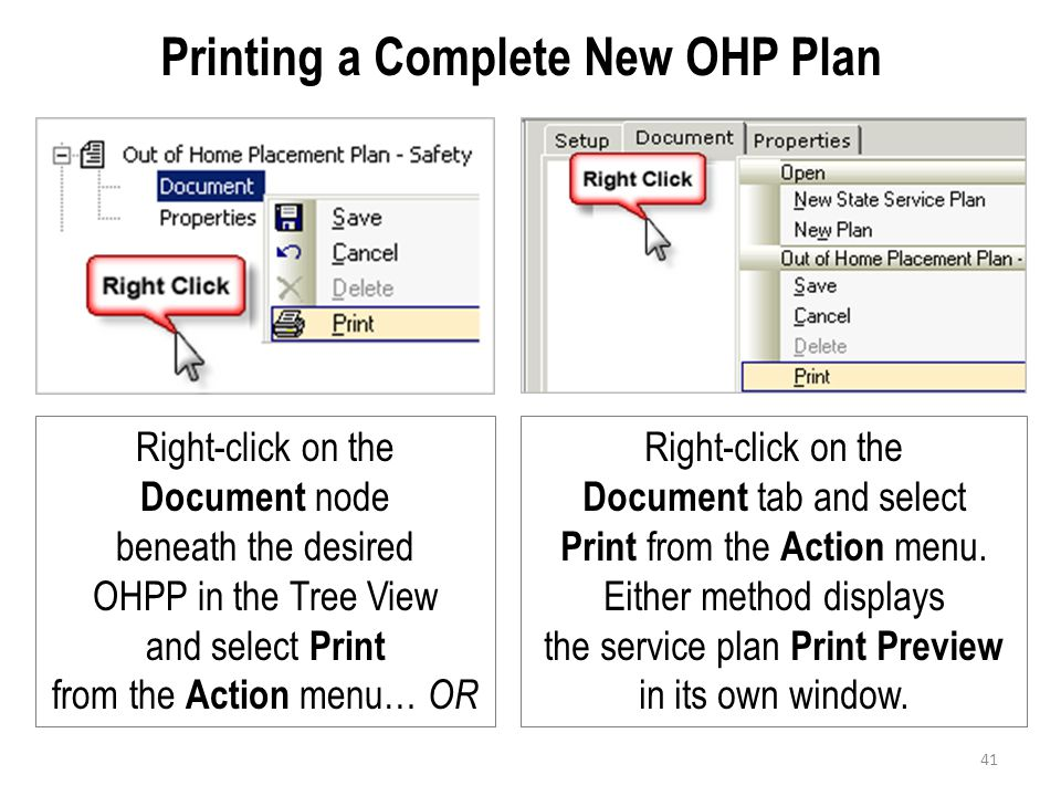 Printing a Complete New OHP Plan