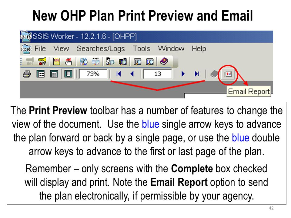 New OHP Plan Print Preview and Email