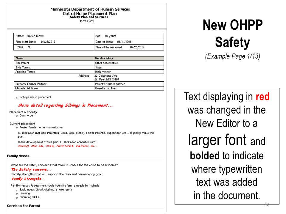 New OHPP Safety (Example Page 1/13)