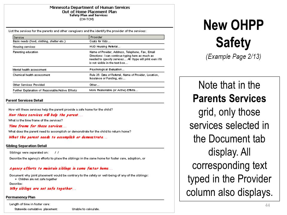 New OHPP Safety (Example Page 2/13)