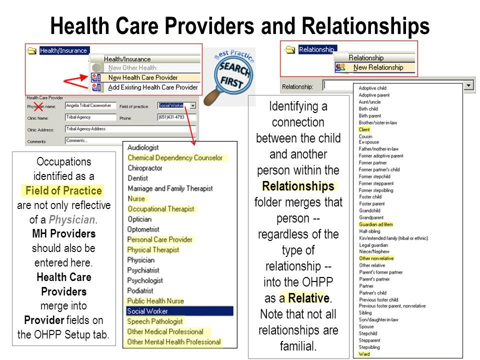 Health Care Providers and Relationships