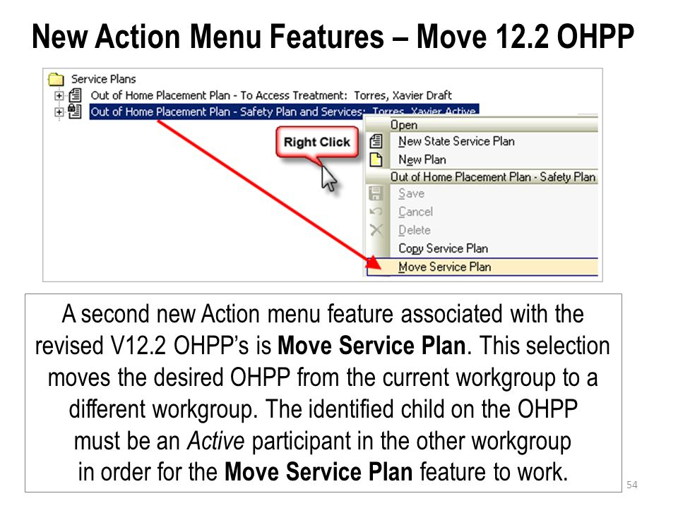 New Action Menu Features – Move 12.2 OHPP