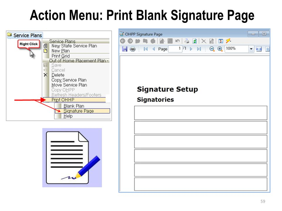 Action Menu: Print Blank Signature Page
