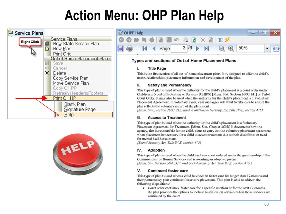 Action Menu: OHP Plan Help