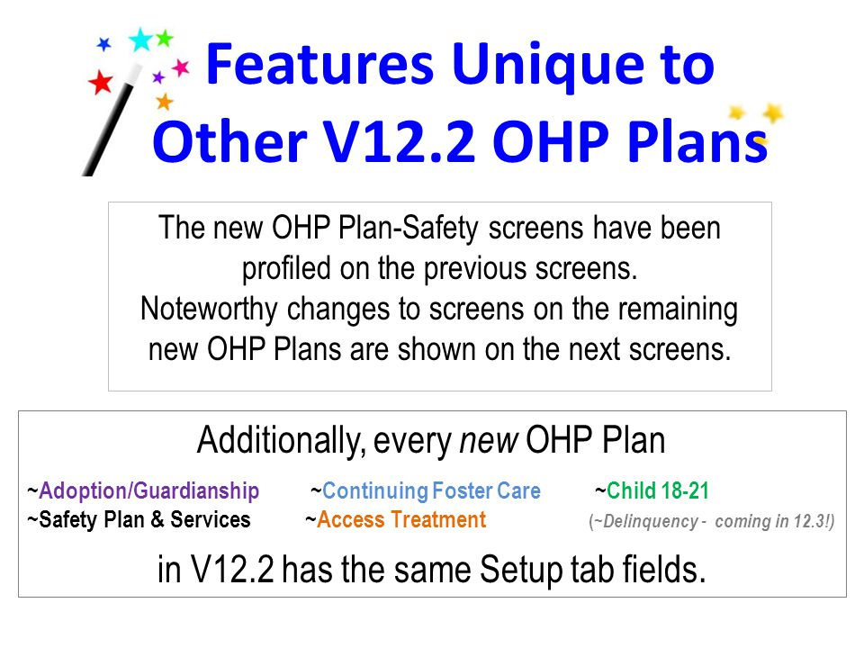 Features Unique to Other V12.2 OHP Plans