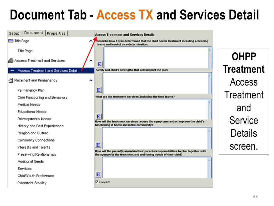 Document Tab - Access TX and Services Detail
