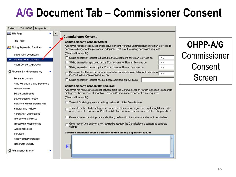 A/G Document Tab – Commissioner Consent