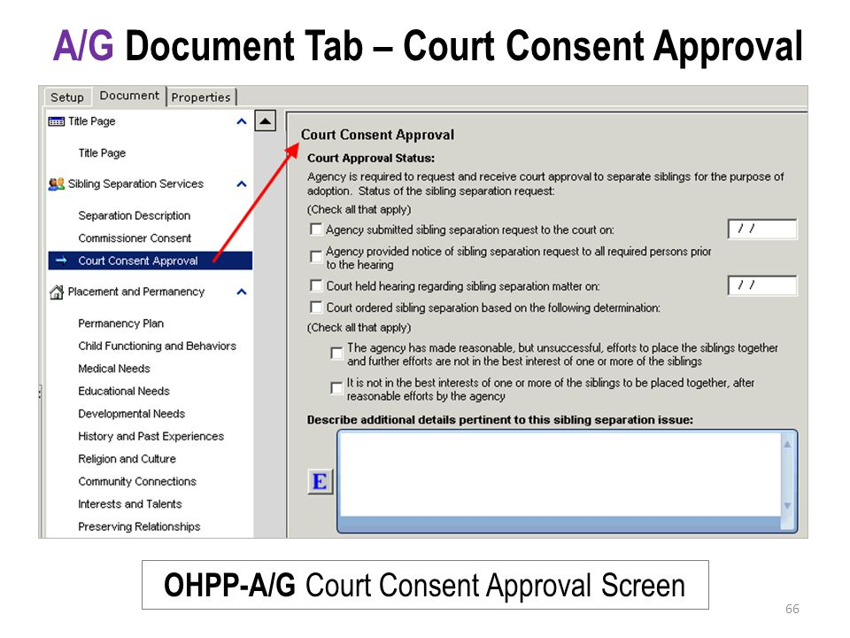 A/G Document Tab – Court Consent Approval