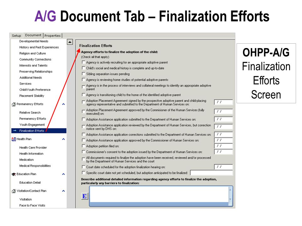 A/G Document Tab – Finalization Efforts