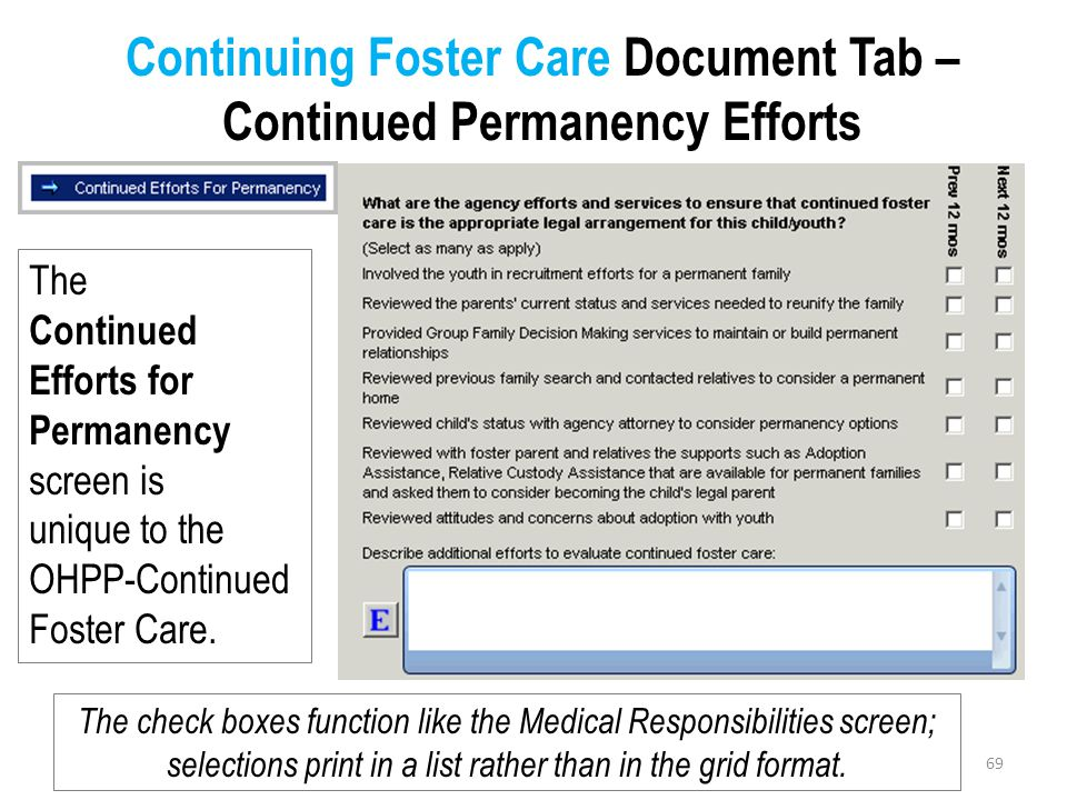 Continuing Foster Care Document Tab –Continued Permanency Efforts