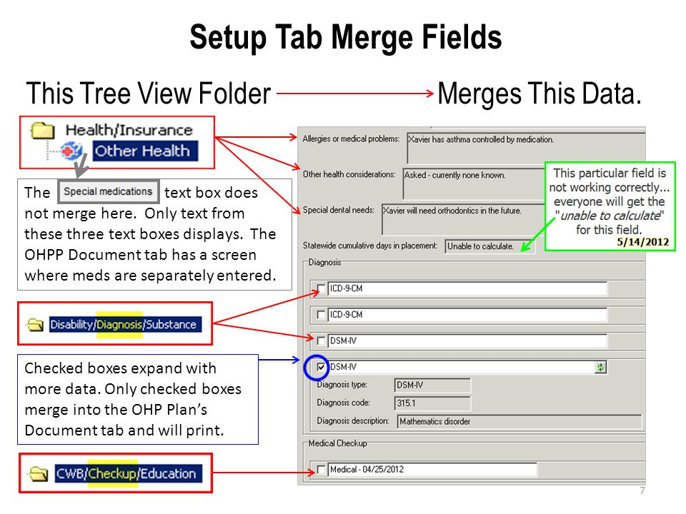Setup Tab Merge Fields This Tree View Folder Merges This Data.