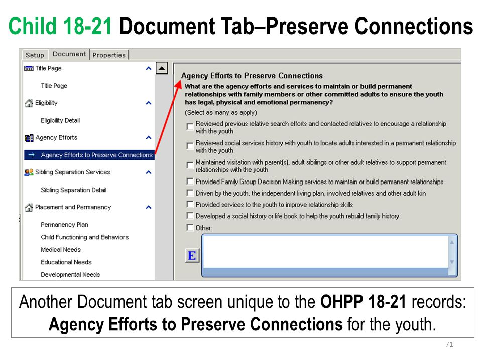 Child 18-21 Document Tab–Preserve Connections