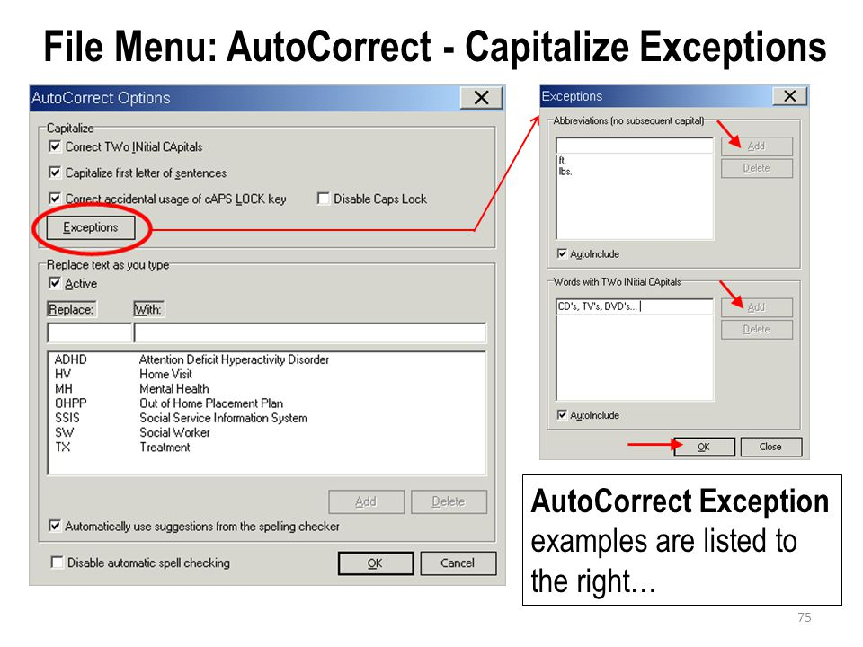 File Menu: AutoCorrect - Capitalize Exceptions