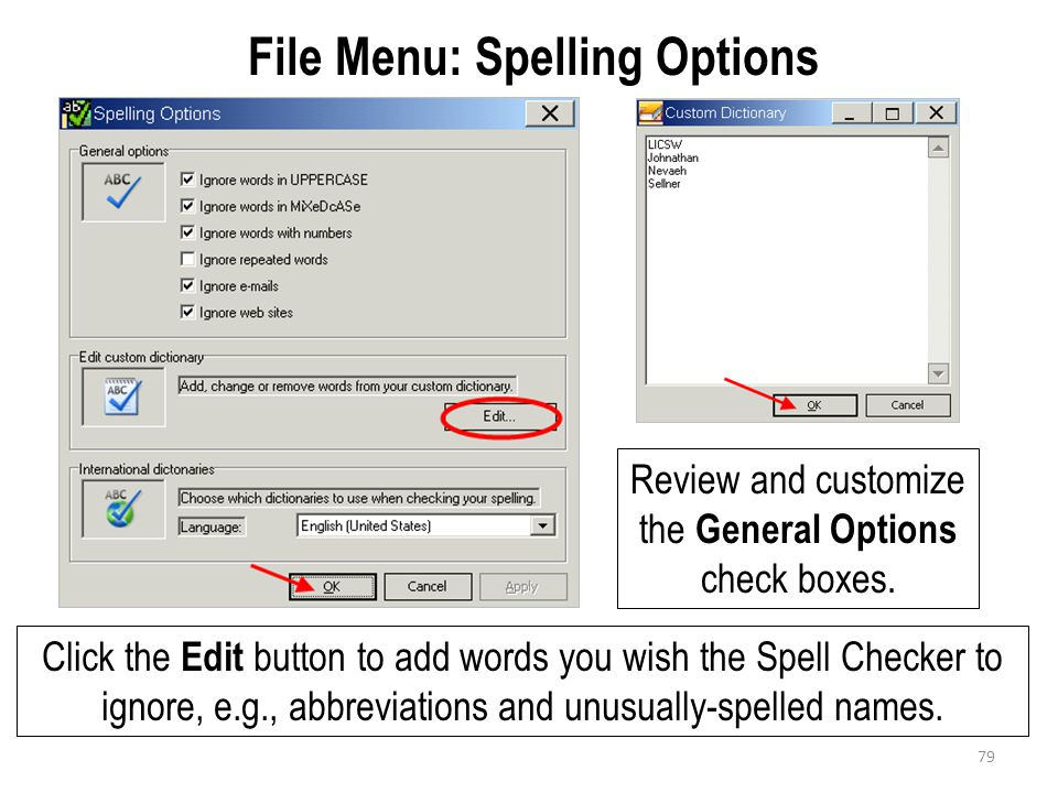 File Menu: Spelling Options