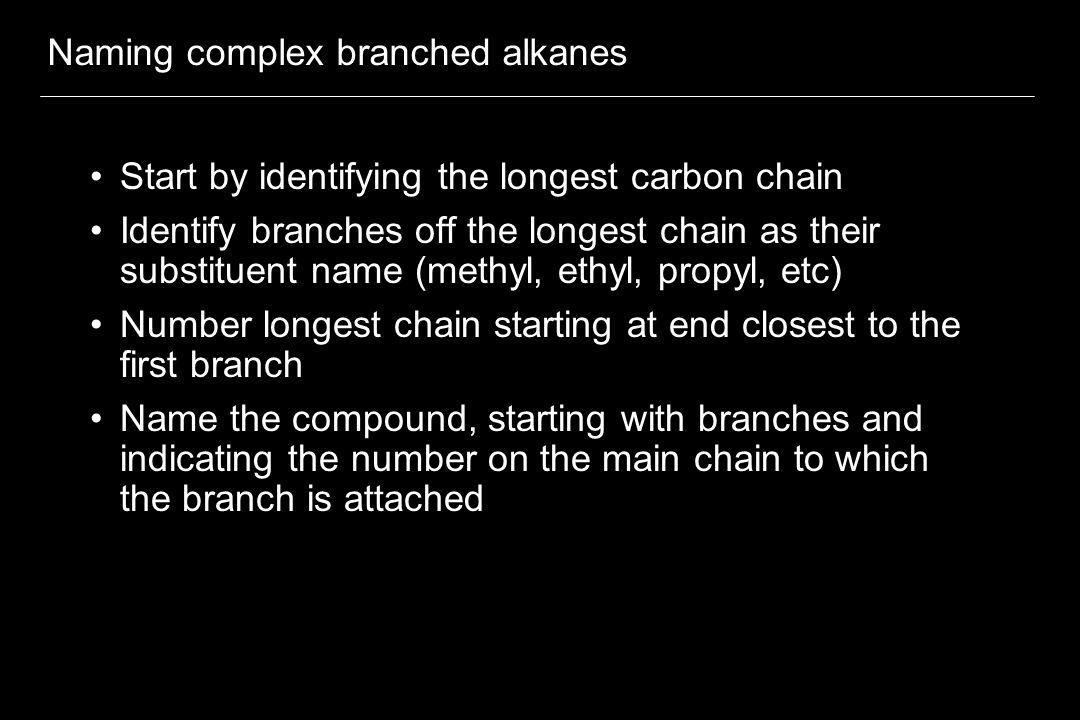 Naming complex branched alkanes
