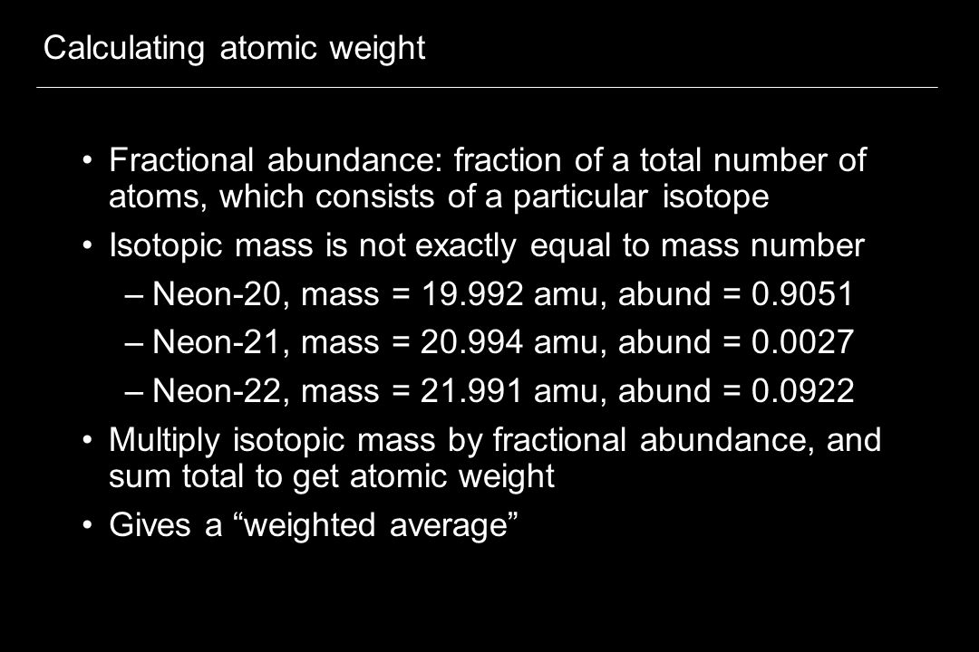 Calculating atomic weight