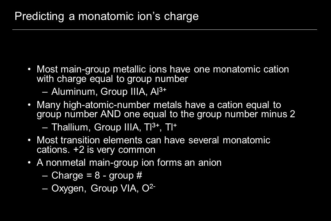 Predicting a monatomic ion's charge