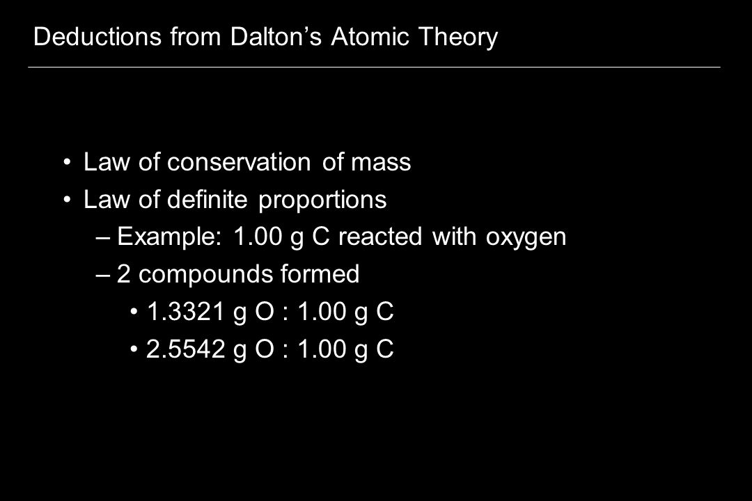 Deductions from Dalton's Atomic Theory