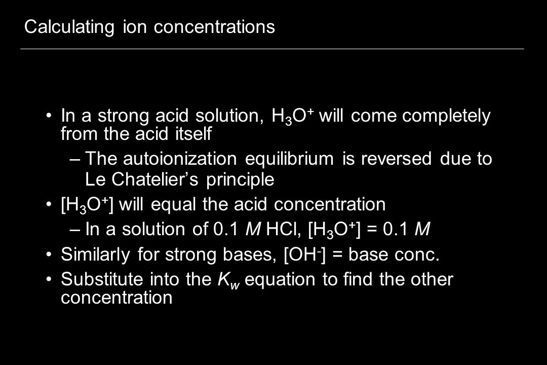 Calculating ion concentrations