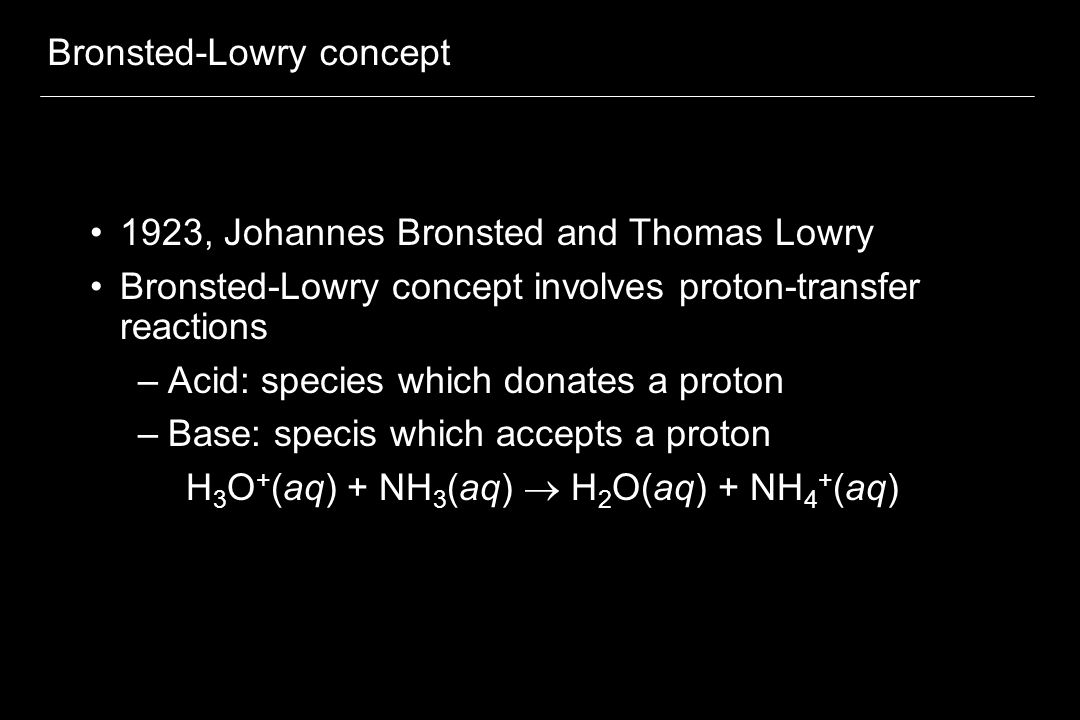 Bronsted-Lowry concept
