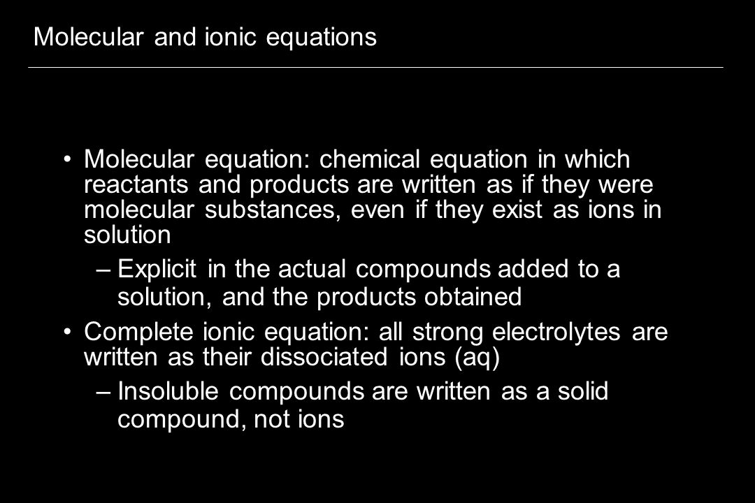 Molecular and ionic equations