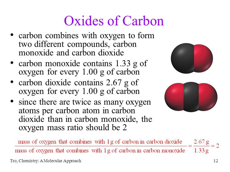 Oxides of Carbon carbon combines with oxygen to form two different compounds, carbon monoxide and carbon dioxide.