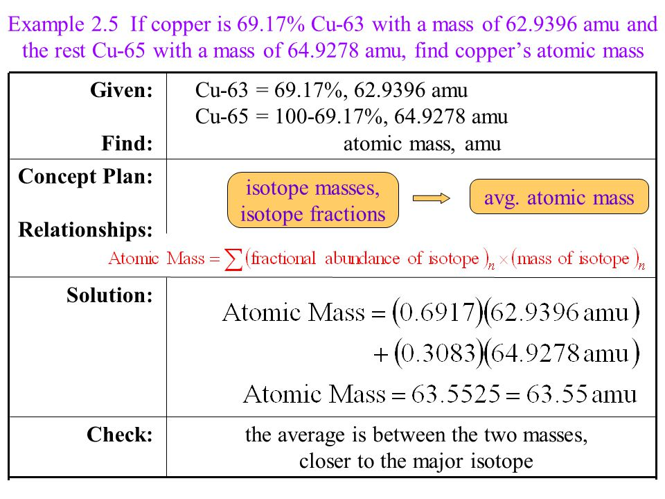 the average is between the two masses, closer to the major isotope