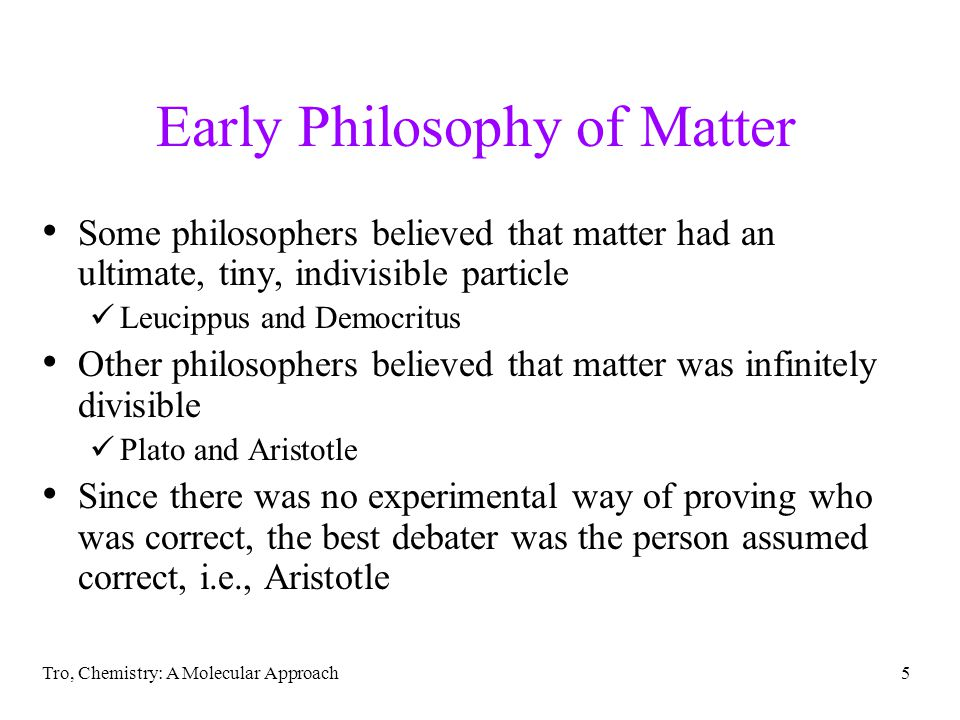 Early Philosophy of Matter