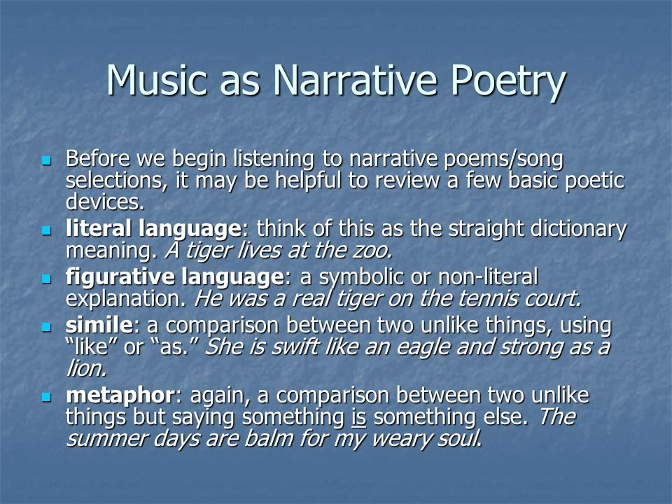Music as Narrative Poetry