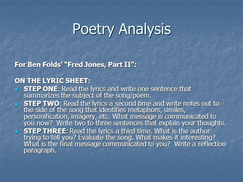 Poetry Analysis For Ben Folds' Fred Jones, Part II :