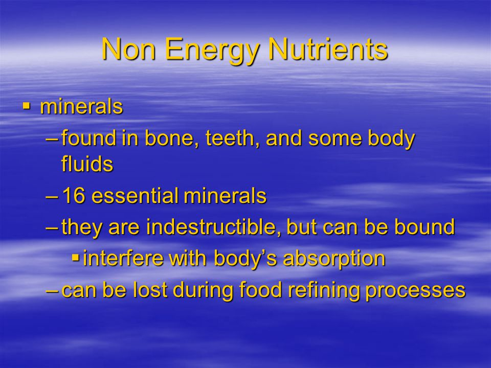 Non Energy Nutrients minerals