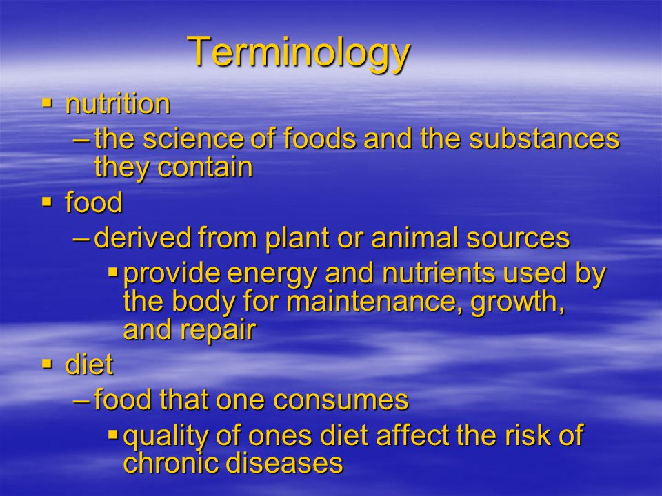 Terminology nutrition