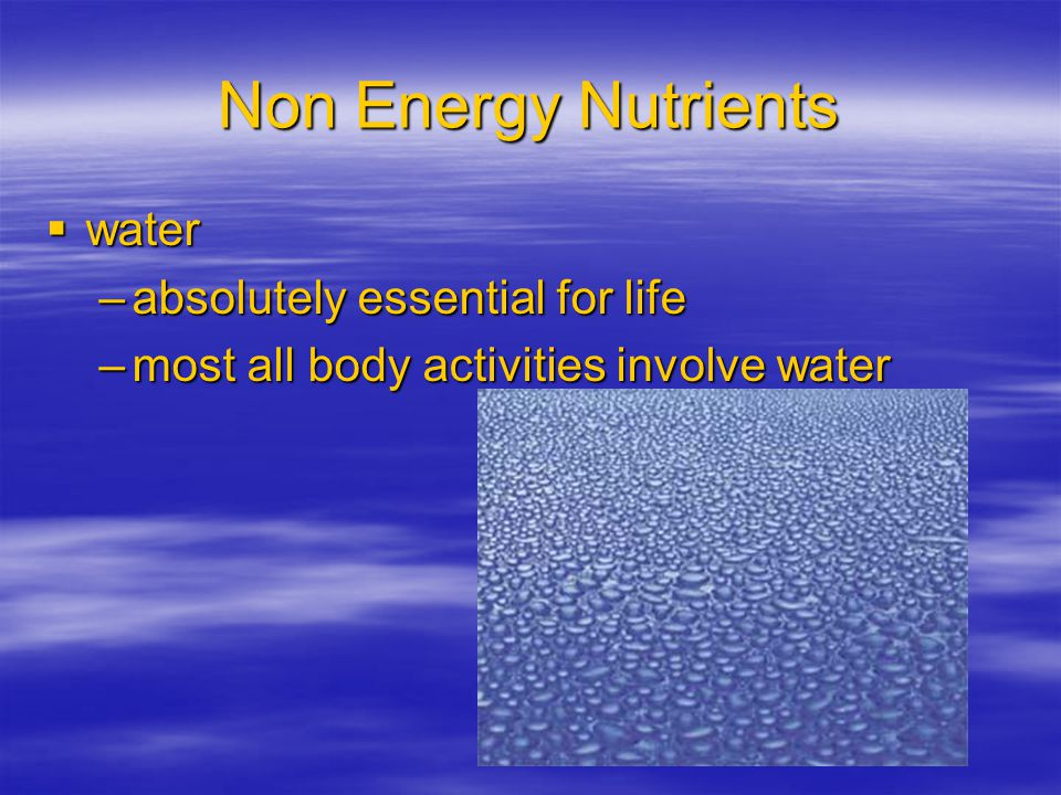 Non Energy Nutrients water absolutely essential for life