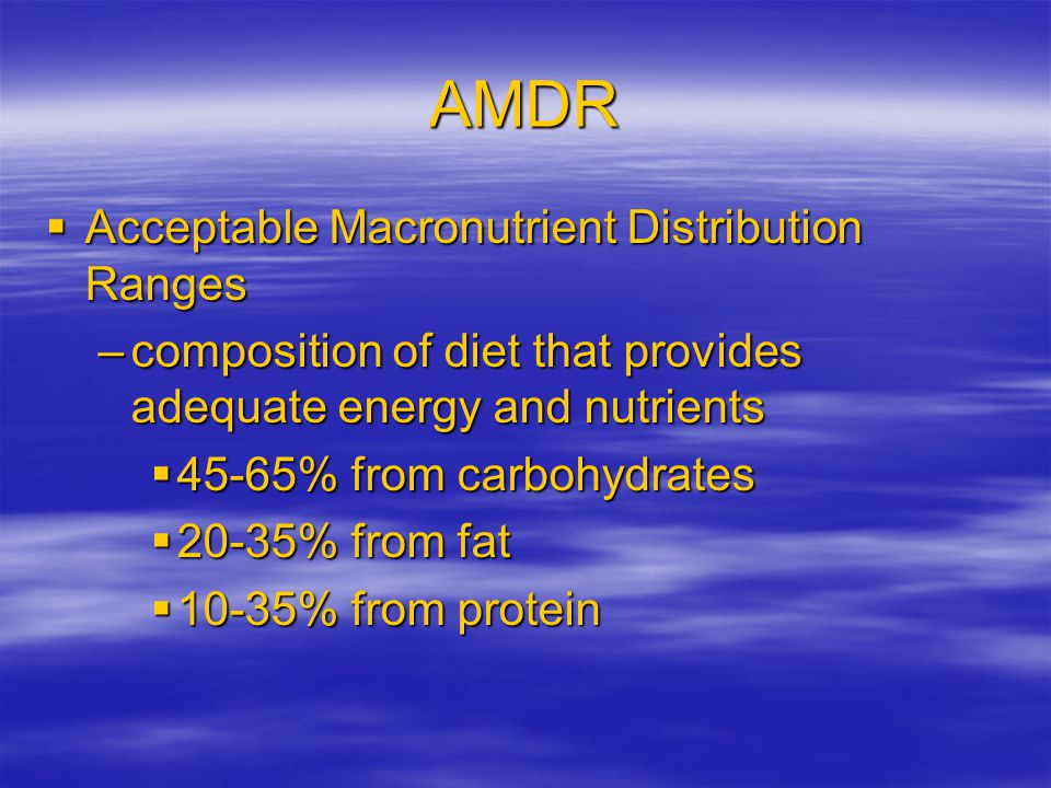 AMDR Acceptable Macronutrient Distribution Ranges