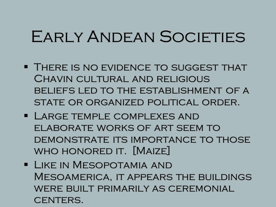 Early Andean Societies