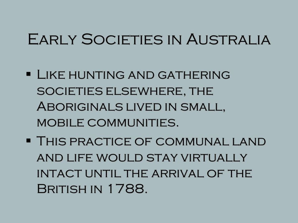 Early Societies in Australia
