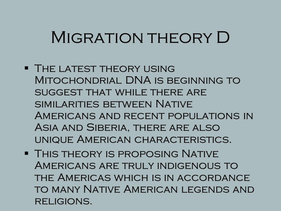 Migration theory D