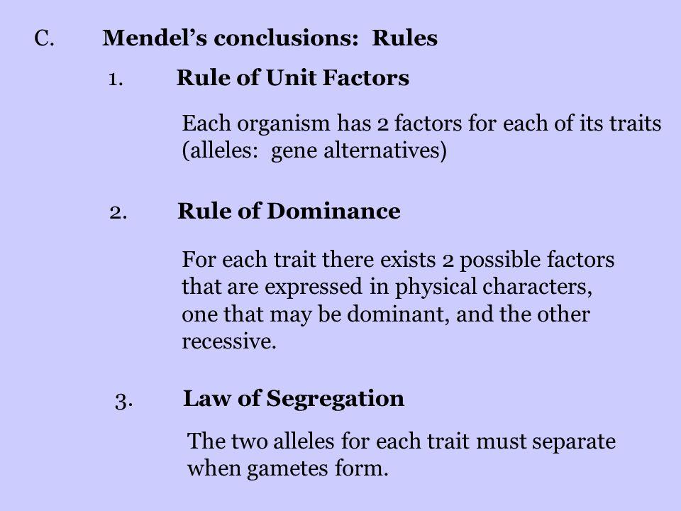 C. Mendel's conclusions: Rules