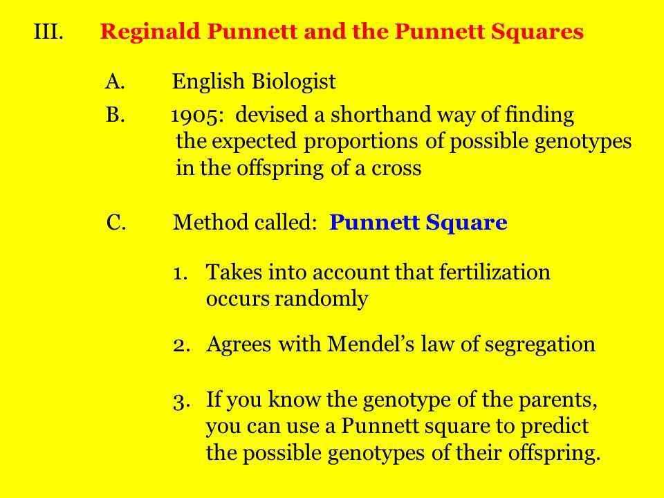 III. Reginald Punnett and the Punnett Squares
