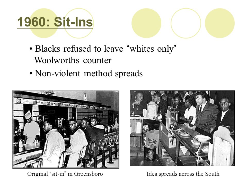 1960: Sit-Ins Blacks refused to leave whites only Woolworths counter