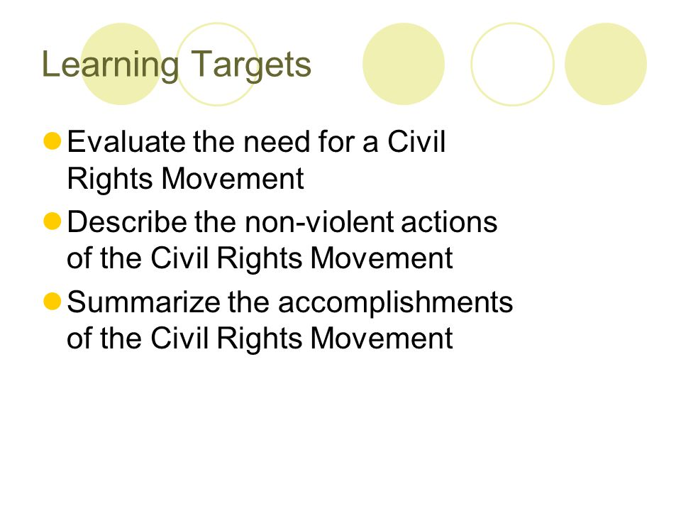 Learning Targets Evaluate the need for a Civil Rights Movement