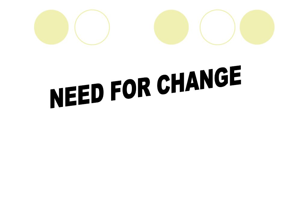 NEED FOR CHANGE