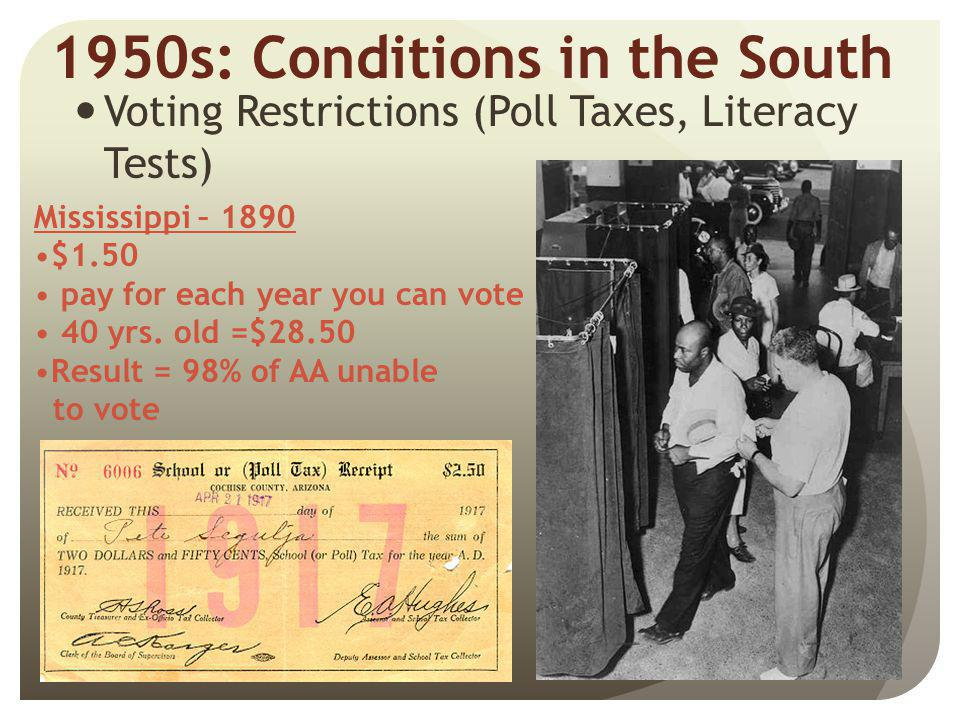 1950s: Conditions in the South