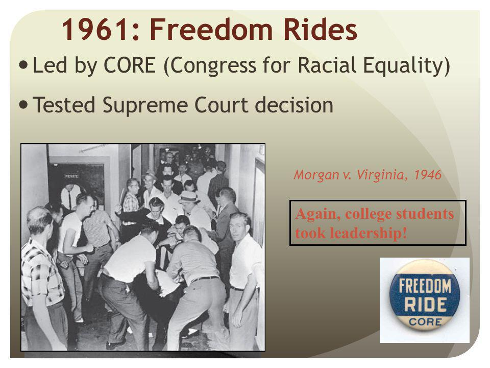 1961: Freedom Rides Led by CORE (Congress for Racial Equality)